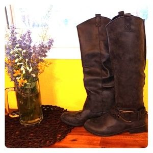 Knee High Charcoal Boots